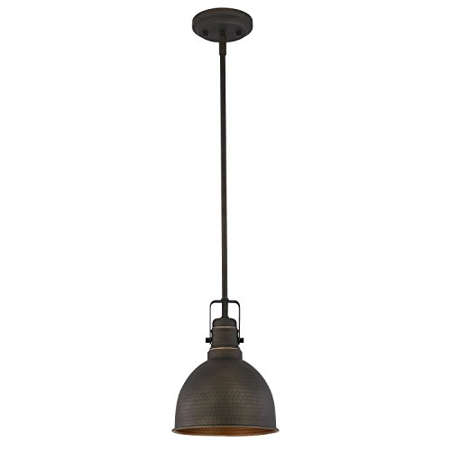 Light Society Hampshire Farmhouse Pendant Lamp, Hammered Oil Rubbed Bronze with Gold Interior, Vintage Industrial Modern Lighting Fixture (LS-C248-ORB) by Light Society (Image #1)