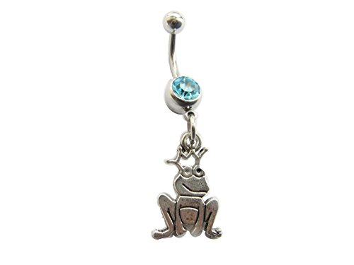 Frog Belly Button Ring, Navel Ring, Frogs, Summer Jewelry, Belly Piercing