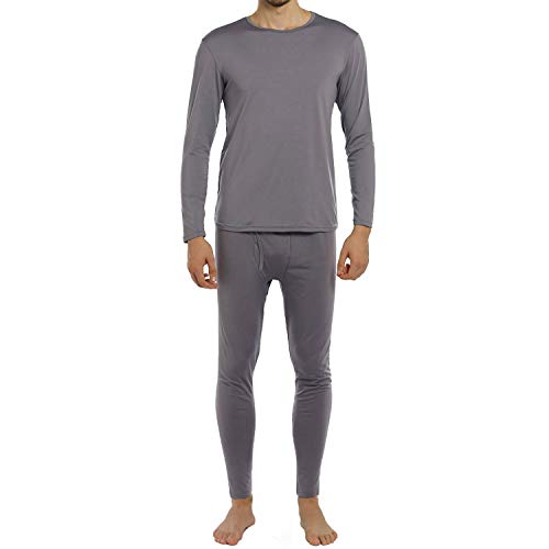 ViCherub Men's Thermal Underwear Set Fleece Lined Long Johns Winter Base Layer Top & Bottom 1 or 2 Sets for Men Grey