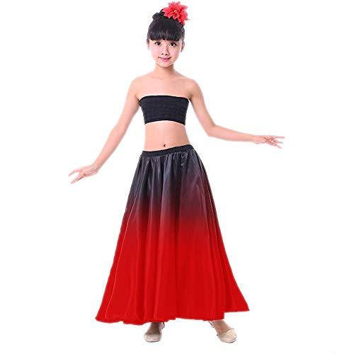 Girls Belly Dance Spanish Flamenco Performance Costume Black Red Gradient Skirt w/Head Flower (S~Suitable for Girls Height 100~110 cm, Top-Black)