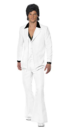 Smiffy's Men's 1970's Suit Costume Jacket with Mock Shirt and Waistcoat Trousers, White X-Large -