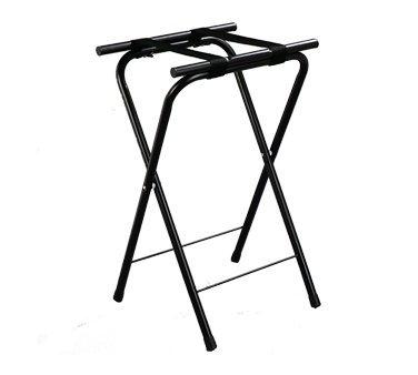 Carlisle Folding Tray Stand, 19-1/4''L x 15''W x 31-1/2''H, (2) black straps, 1'' tubular frame, cross-bar supports, non-marking plastic feet, chrome plated steel, black, C362503