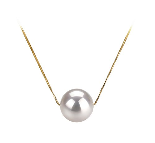 Kristine White 8-9mm AAA Quality Japanese Akoya 14K Yellow Gold Cultured Pearl Pendant For Women