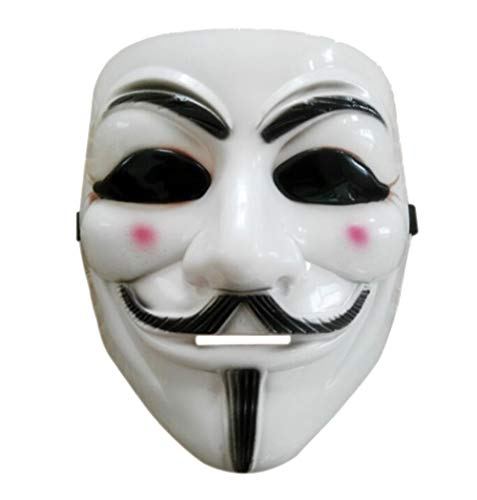 Halloween Anonymous Costume Cosplay Guy Fawkes V for Vendetta Mask (White Without Eyes)
