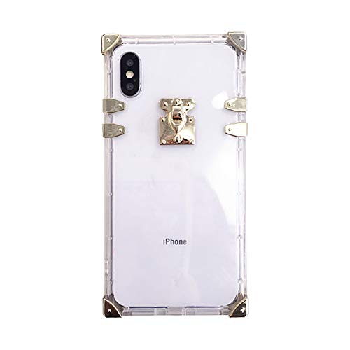 Square Case for iPhone Xs Max X 10 Fashion Cover for iPhone 7 Plus 8plus Soft Flexible TPU Shockproof Trunk Back Shell (Crystal Clear, iPhone Xs Max)