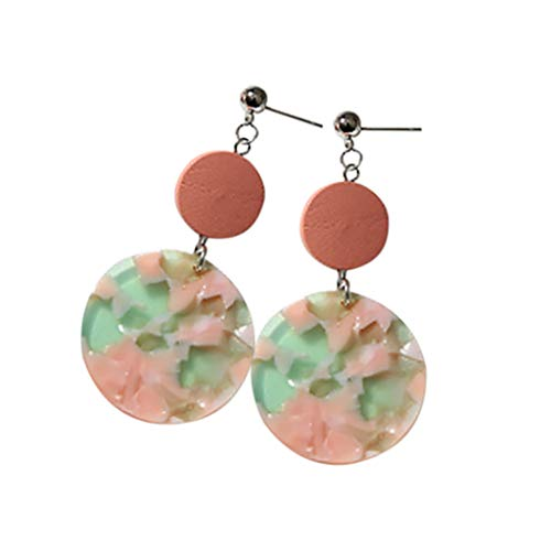 - Vintage Acrylic Earrings Geometric Drop Dangle Earring Wood Beads Round Earrings Jewelry Gift for Women By Lmtime(Pink)