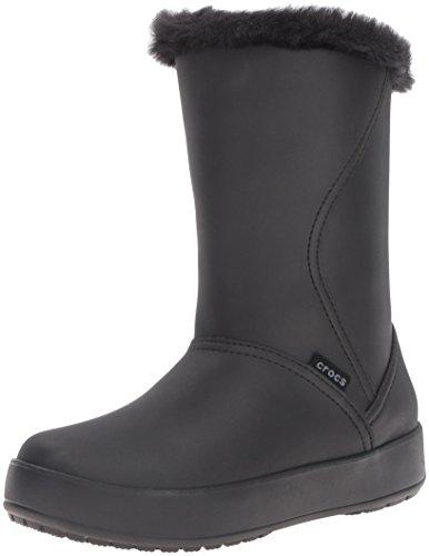 Crocs Women's ColorLite Mid Boot Ankle Bootie, Black Black/Black
