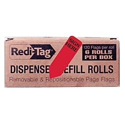 Redi-Tag Sign Here Reversible Red Refill Rolls - 720-1.87