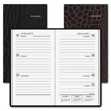 At-A-Glance,Appointment Books,Dated Goods,Deluxe Weekly Pocket Planner, Stitched Crocodile Cover, 2PPW Ruled, Removable Telephone Address Section