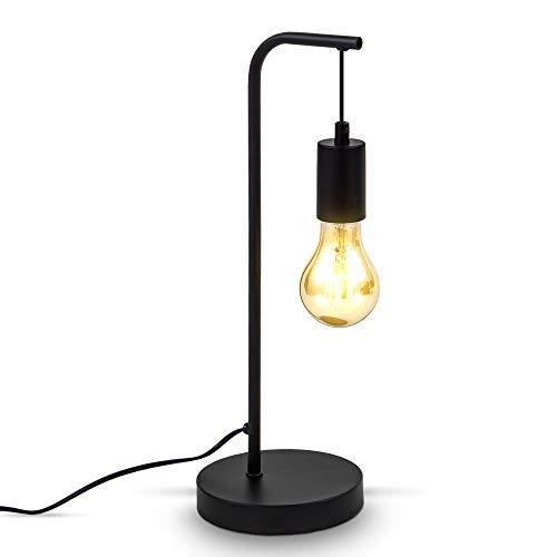 B.K.Licht Retro tafellamp gebogen I E27 I kabel met schakelaar I 1 vlam I metaal I zwart
