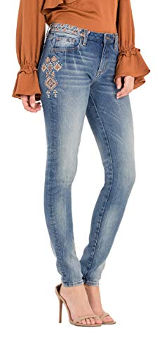 Miss Me Womens Tribal Inspired mid-Rise Skinny Jeans (30) (12 Miss Jeans Me)