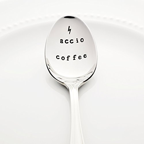 Accio Coffee with Lightning Bolt | Stainless Steel Stamped Spoon | Stamped Silverware | Harry Potter Birthday Gift for Her Idea | Christmas Stocking Stuffers -