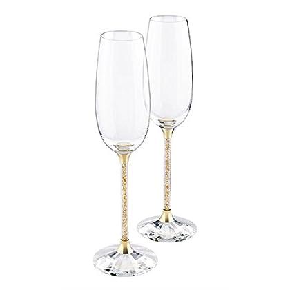 Image of Swarovski Crystalline Golden Shadow Toasting Flutes, Pair Champagne Glasses