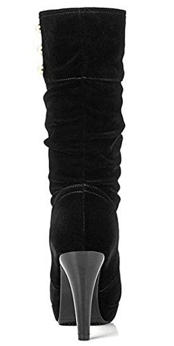 Faux Heels Calf Trendy On Pull Stiletto Platform Beads 2 IDIFU Boots Womens Suede Black High Mid xzwSTnqF