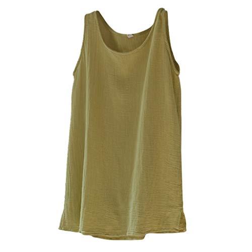 Hosamtel Women Tank Top Sleeveless T-Shirt Solid Linen Summer Beach Fashion Casual Vintage Loose Vest Tops Blouse Yellow ()