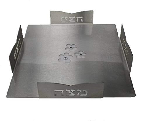 Passover Plate Matzah (Modern Passover Matzah Plate - Laser Cut Aluminum, Made in Israel)