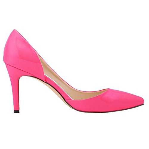 Party Dress Womens Toe High Evening Rose Thin Pointed Leather Heel Dethan Red Patent OL Pumps HwxWPfCqCU