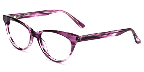Firmoo Anti Blue Ray Computer Glasses for Anti Eyestrain/Headache/Glare/UV with Vintage Cateye Purple Plastic Frame for Women