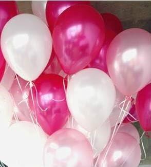 【Fuwari】 極厚 バルーン 光沢 風船 100個 (+予備バルーン20個)  空気入れ  リボン セット 運動会 学園祭 結婚式 誕生日 パーティー 卒業 入学 イベント  ハロウィン 飾り付け (ピンク+ホワイト+ライトピンク)
