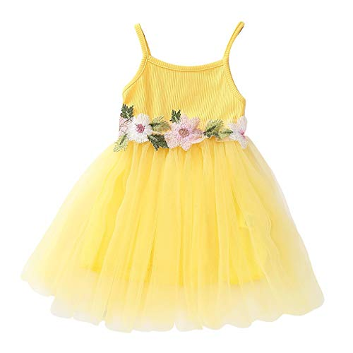 (RAINED-Toddler Baby Girls Princess Dress Dot Tulle Tutu Skirt Ruched Patchwork Lace Party Clothes )