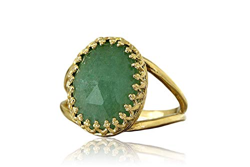 Anemone Jewelry Artisan Emerald Jade in 14k Gold-filled Ring Band - Jewelry for Women Handcrafted by Skilled Artisans - Party Ring, Formal Ring, Stacking Rings Sizes 3-12.5 [Free Gift Box]