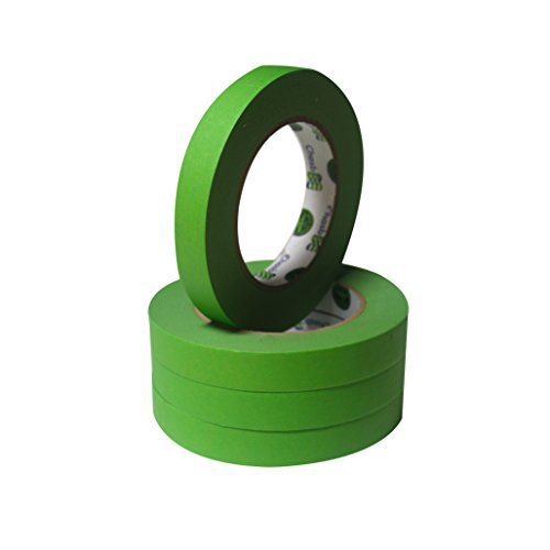 (Insta Finish Green Performance Masking Tape - Easy Release Painters Clean Line Tape - Industrial Grade - 3/4 Inch x 60 Yards - Box of 48)