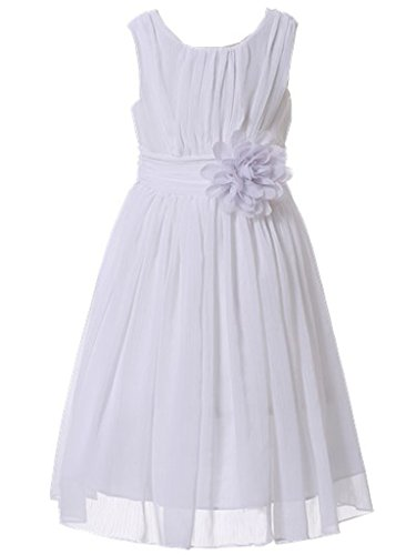 (Bow Dream Little Girls Elegant Ruffle Chiffon Summer Flowers Girls Dresses Junior Bridesmaids White)