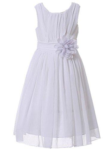 Bow Dream Little Girls Elegant Ruffle Chiffon Summer Flowers Girls Dresses Junior Bridesmaids White 8