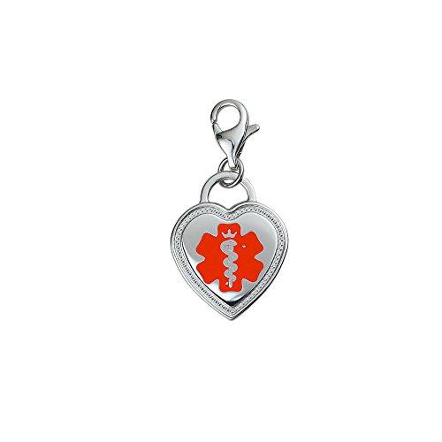 Divoti Deep Custom Laser Engraved Premier 316L Medical Alert ID Heart Charm w/Lobster Clasp-Red ()