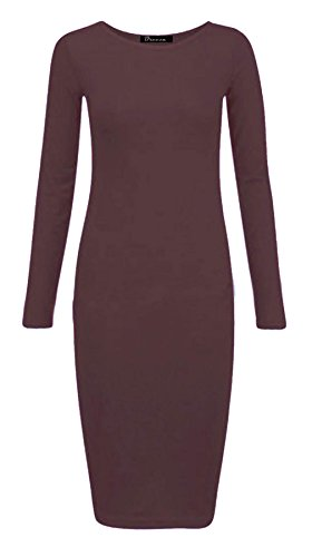 Jersey Fashions Dress Ladies maniche Womens Dress S a Brown Maxi Stretch Islander Plain 3XL lunghe Bodycon Midi qwPBqd