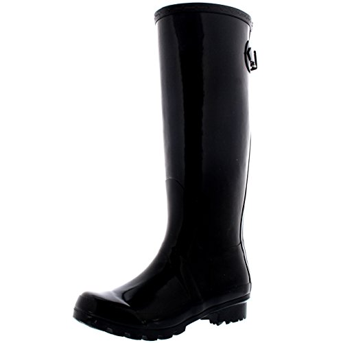 - Polar Womens Adjustable Back Tall Gloss Wellington Winter Wellies Snow Rain Boots - Black - 9-40 - CD0019