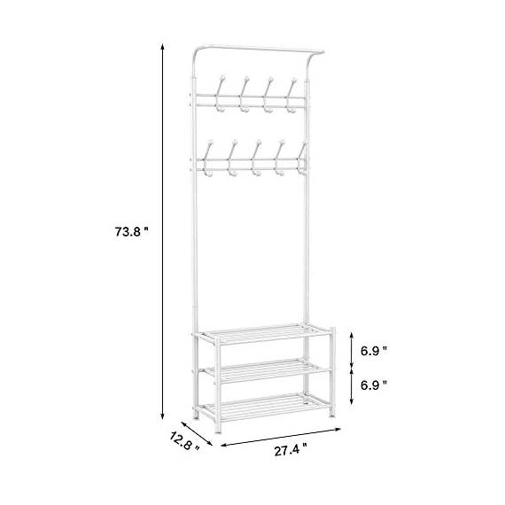 Yaheetech Fashion Heavy Duty Garment Rack with Shelves 3-Tier Shoes Rack,Coat Rack with Hanger Bar White - High quality: Constructed of powder coated metal tube, antirust and durable, won't be out of shape, strong and sturdy. 18 hooks coat rack: 18 hooks in 4 levels can be used for you and your kids' clothes, bags, hat, purse and handbags in different height and type. 3-tier shoe rack: 3-tier ample metal shelves provided to organize various size shoes , shoe boxes, and storage boxes. 3-tier shoe rack is suitable for keeping your shoes neat and organized. You can also storage your handbags on the top shelf. - hall-trees, entryway-furniture-decor, entryway-laundry-room - 31Mnk9dKAsL. SS570  -
