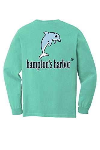 Hampton's Harbor-Original (3 Color) Cotton Graphic Long Sleeve T-Shirt with Pocket (Chalky Mint, X-Large)
