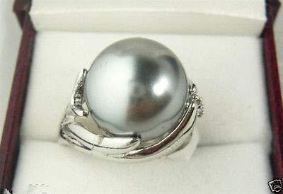 FidgetKute Genuine Natural 14mm Gray South Sea Shell Pearl Wedding Jewelry Ring SZ 7/8/9 7