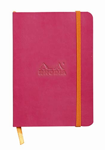 Rhodia Rhodiarama SoftCover Notebook - 72 Dots Sheets - 4 x 5 1/2 - Raspberry Cover