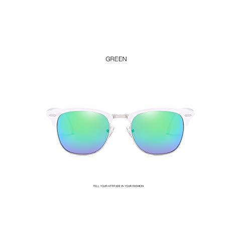 (Cjrtyj Retro Sunglasses Classic Fashion Rice Nail Sunglasses Men And Women Trend Sunglasses,Solid White Framed Green Mercury)