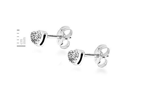 Carissima Gold - Boucles d'oreille - Femme - Or blanc (9 carats) 0.9 Gr - Diamant