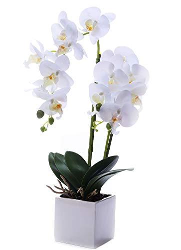GXLMII Artificial Flower Bonsai with Vase, Large Vivid Orchid Plant Arrangement Phalaenopsis Wedding Party Home Centerpiece Decor White (Large Orchid Artificial)