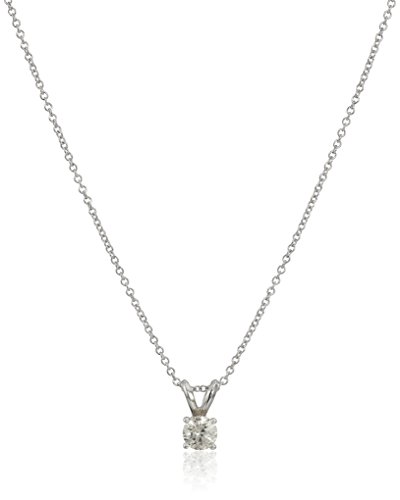 14k White Gold Round-Cut Diamond Solitaire Pendant Necklace (1/3 cttw, K-L Color, I1-I2 Clarity), 18
