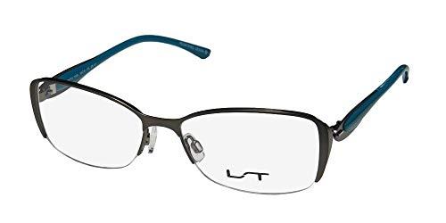 Lightec By Morel 7036l Womens Designer Half-rim Spring Hinges Stainless Steel Contemporary Eyeglasses/Eye Glasses (53-16-135, Gray/Blue) (53 16 135)