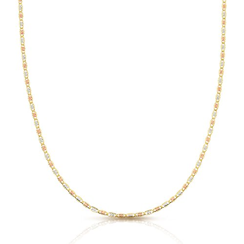 Jewel Connection Tri- Color 14K Valentino Chain, Rose Gold, Yellow Gold, and White Gold With Fancy Etching