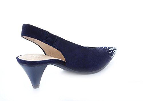 Vestir Hispanitas Vaquero de Zapatos Azul Piel Para de Mujer FwUSqC