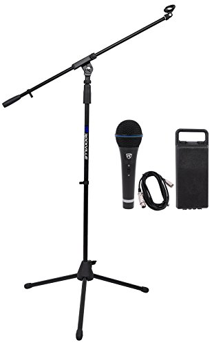 (Rockville RMC-XLR High-End Metal Handheld Wired Microphones +Tripod Base Stand)