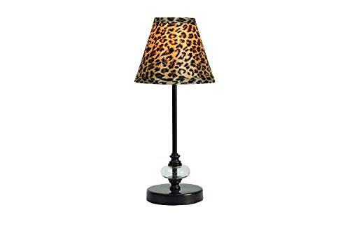Urbanest Lucas Mini Accent Lamp, Black with Leopard Hardback Lamp Shade, 15-inch Tall (Print Lamp Shades Leopard)