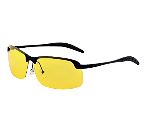 YANQIUYU Rimless Unisex Polarized Night Vision Driving Glasses Goggles with Sturdy Metal Frame (Black/Yellow Lens, 66) (So Rimless Free Metal Sunglasses)