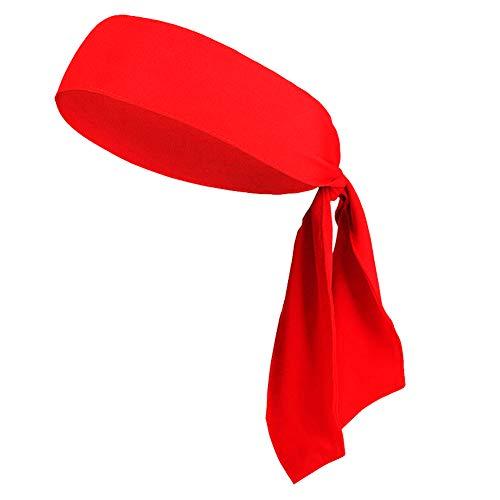 Head Tie Headbands for Men Women Kids Girls Boys, Sports Headbands No Slip for Karate Tennis Softball Pirate Workout Soccer (1Pack Red)]()