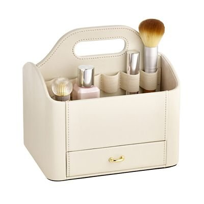 Faux Leather Make up Storage Caddy - Cream lakeland
