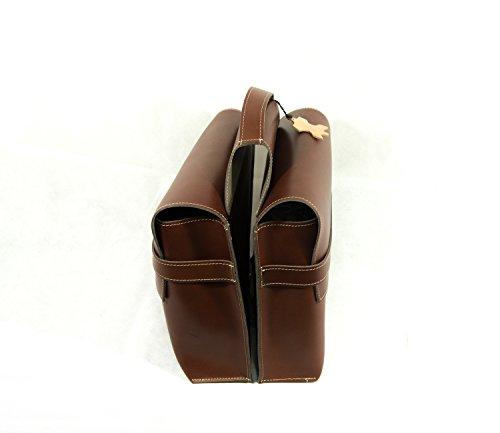 Tasche Roma 1934–Doppeltasche für Fahrrad. Taschen Fahrrad-Gepäckträger. Echtes Leder. Farbe Braun. Made in Italy (Vin _ 134_ M)