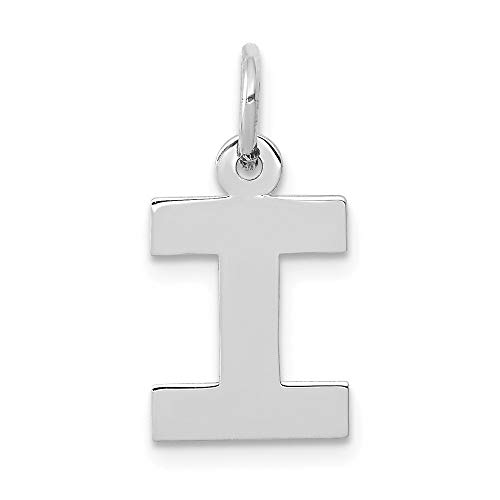 Jewelry Pendants & Charms Themed Charms 14k White Gold Small Block Initial I Charm