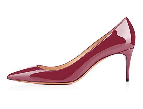 Talon Talon Femme Chaussures Rouge Escarpins Vin Talons Aiguille Femmes Stilettos uBeauty Chaussures 65MM Taille Chaussures Grande Haut wTqIaz76